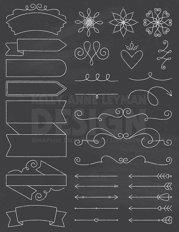 Chalkboard clipart download clip freeuse Chalkboard Doodle DIY Invitation Clipart, Design Elements, Digital ... clip freeuse