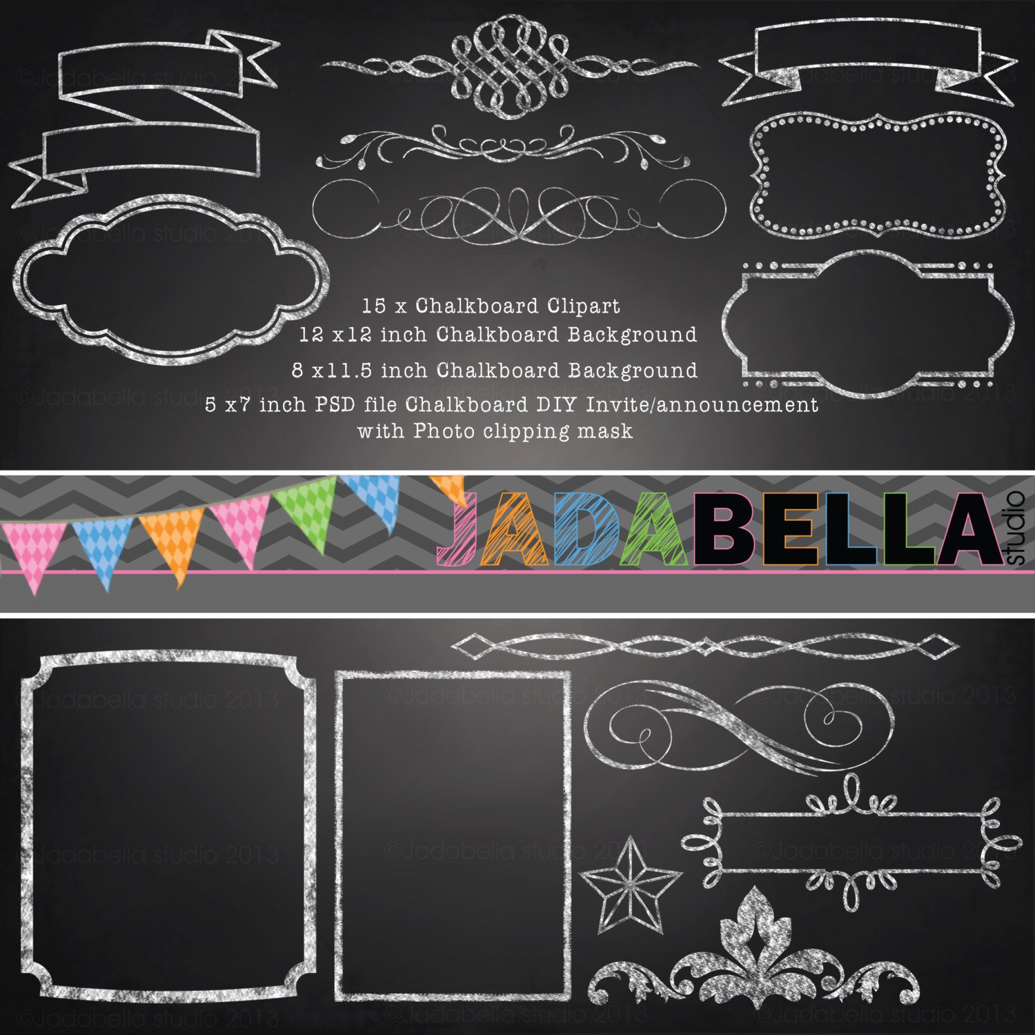 Chalkboard clipart download picture transparent download Instant Download Set of 15 Chalkboard Clipart 1 Photoshop Template ... picture transparent download