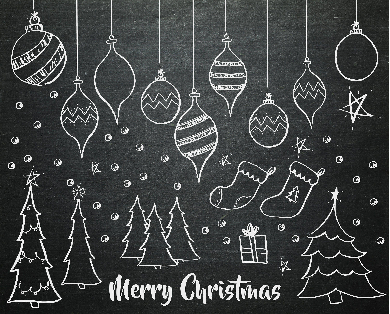 Chalkboard clipart ornaments clip art royalty free stock Hand Drawn Christmas Chalkboard Clipart - Chalkboard Christmas Tree ... clip art royalty free stock