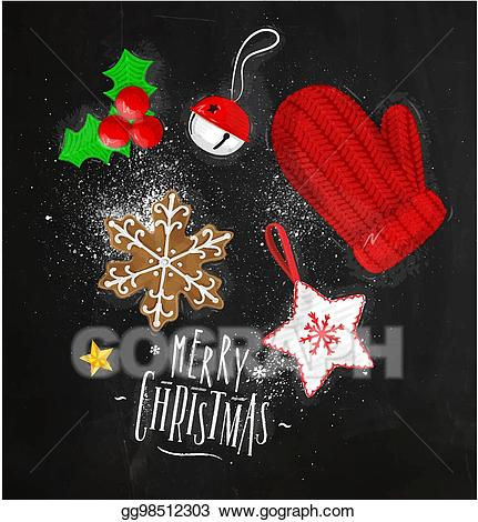 Chalkboard clipart ornaments clipart library library Vector Stock - Christmas elements glove chalk. Stock Clip Art ... clipart library library