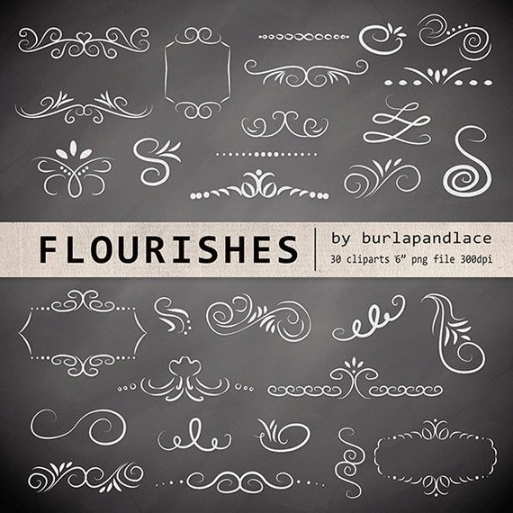 Chalkboard clipart ornaments graphic freeuse library Hand Drawn chalkboard flourishes clipart, Digital clipart frames ... graphic freeuse library