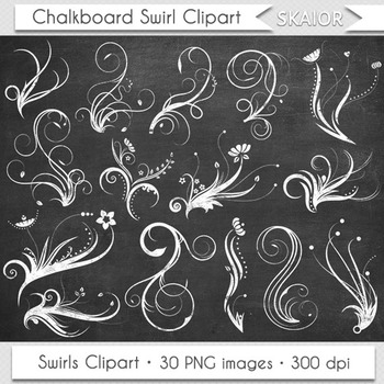 Chalkboard clipart ornaments clipart transparent stock Chalkboard Swirls Clip Art Flourish Clipart White Floral Ornaments  Invitations clipart transparent stock