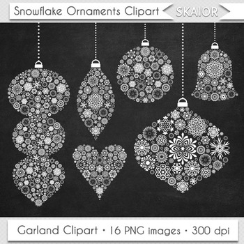 Chalkboard clipart ornaments svg black and white library Christmas Ornaments Clipart Chalkboard Tree Decorations Garlands Clip Art svg black and white library