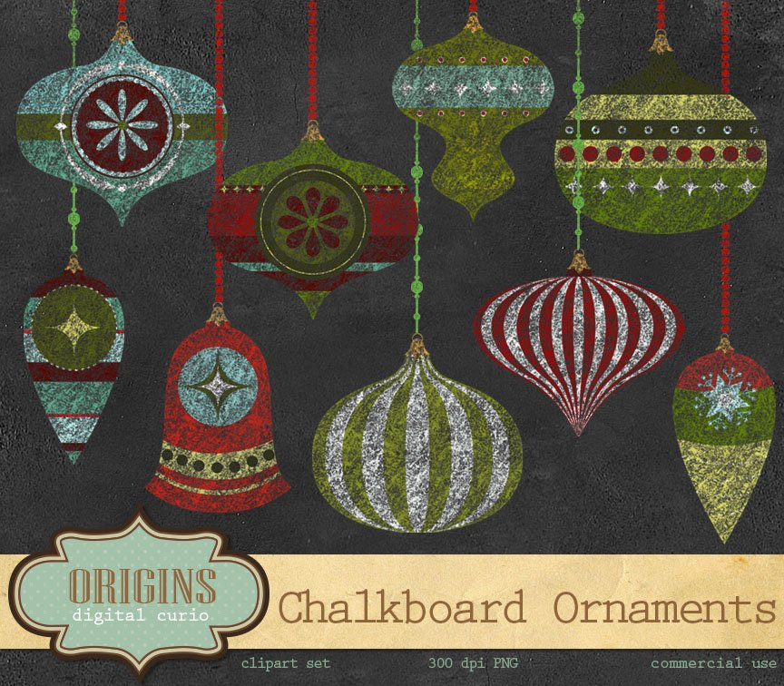 Chalkboard clipart ornaments banner black and white Chalkboard Christmas Ornaments ~ Illustrations ~ Creative Market banner black and white