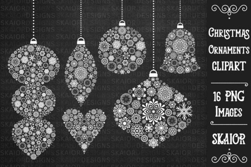 Chalkboard clipart ornaments svg White Christmas Tree Ornaments Clipart Chalkboard By Skaior ... svg