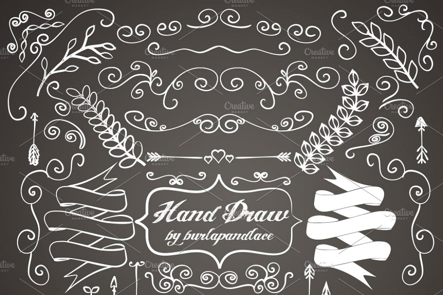 Chalkboard clipart ornaments clipart freeuse Chalkboard hand draw ornaments clipart freeuse