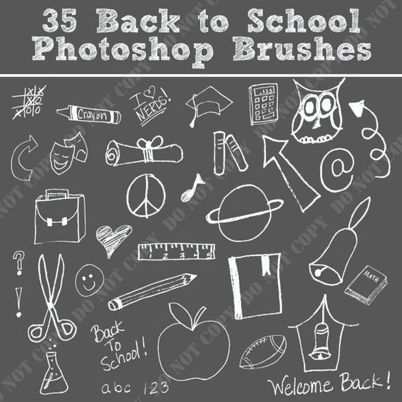 Chalkboard drawing clipart school svg black and white stock 35 Back to School Photoshop Brushes Word Art Set /Chalkboard ... svg black and white stock