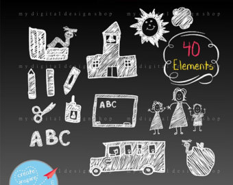 Chalkboard drawing clipart school graphic free Chalkboard elements | Etsy graphic free