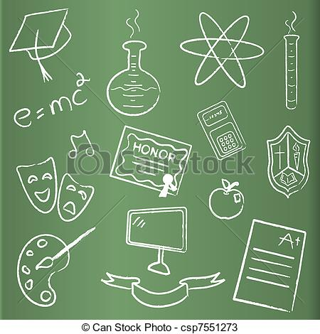Chalkboard drawing clipart school freeuse Vectors of School themed chalkboard icons csp7551273 - Search Clip ... freeuse