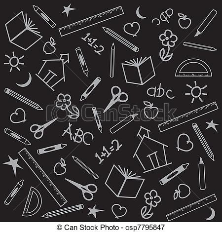 Chalkboard drawing clipart school banner transparent library Vectors Illustration of Back to School Background - Blackboard ... banner transparent library
