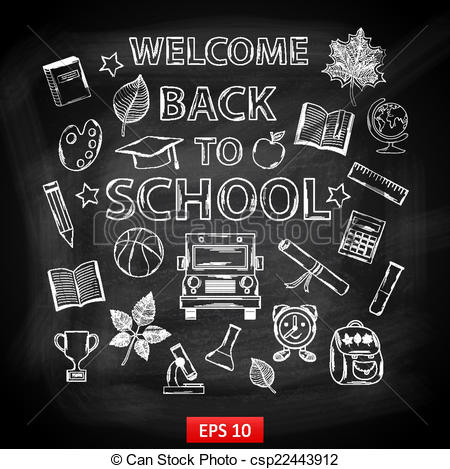 Chalkboard drawing clipart school clipart freeuse download Vector Clip Art of Chalk board Welcome back to school,with ... clipart freeuse download
