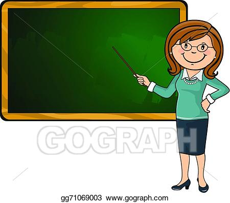 Chalkboard elementary clipart graphic black and white library Vector Stock - Teacher and blackboard. Clipart Illustration ... graphic black and white library