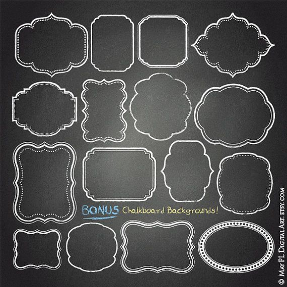 Chalkboard frame clipart free picture black and white stock Chalkboard Frame Clipart – Free Commercial Use Clipart Featuring 18 ... picture black and white stock