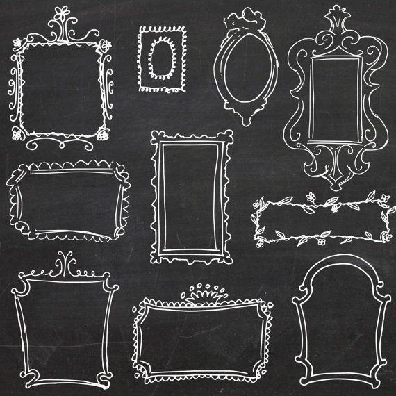 Chalkboard frame clipart free picture library library Vector Doodle Frames Clipart, Digital Borders, Frame Clipart ... picture library library