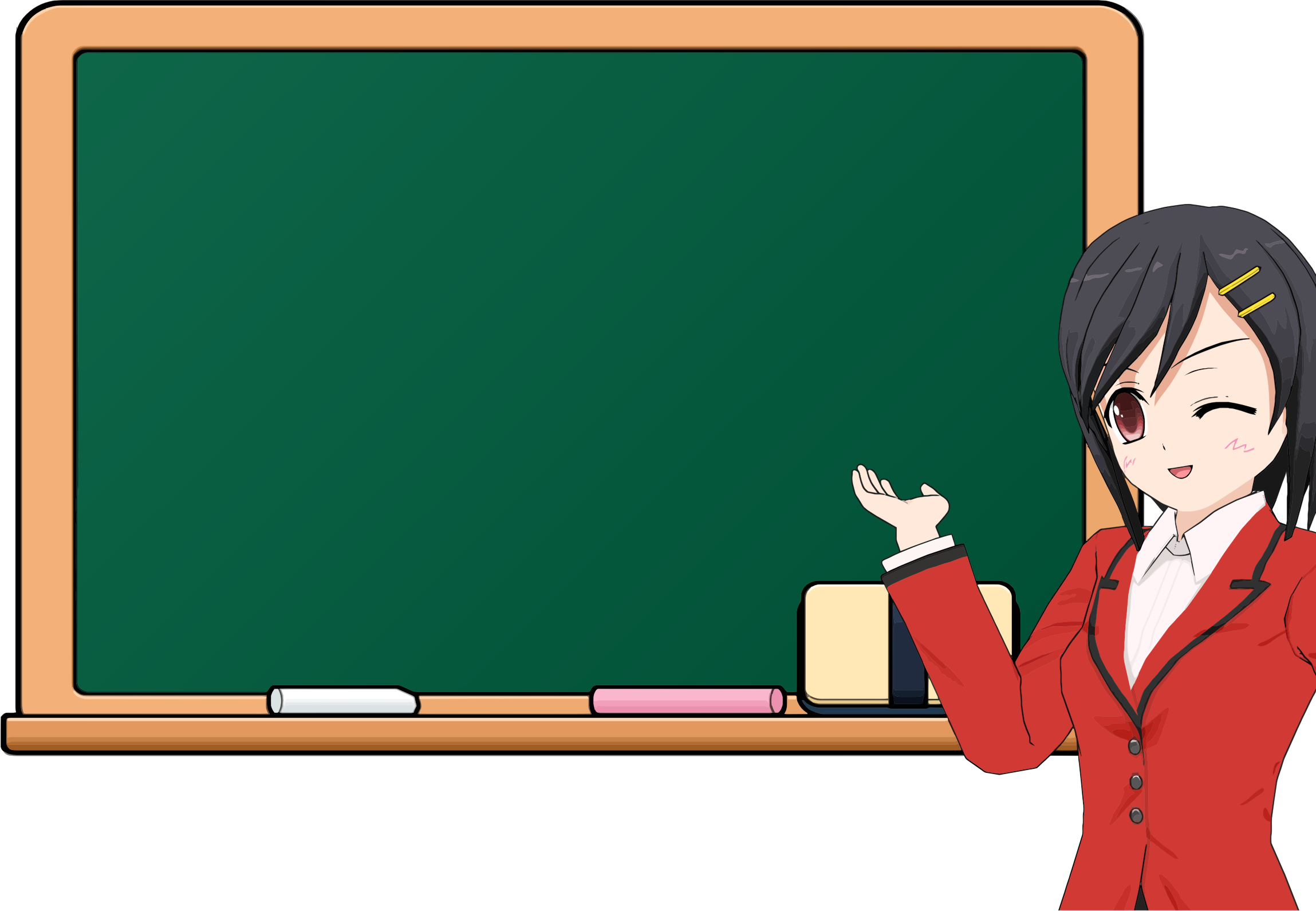 Chalkboard pictures clip art image transparent stock Clipart - Anime Girl School Chalkboard 2 image transparent stock