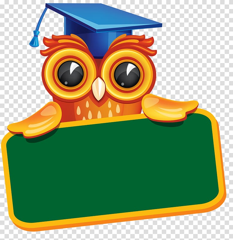 Chalkboard kinder graduation clipart jpg freeuse stock Owl wearing mortarboard behind green blank signage illustration ... jpg freeuse stock