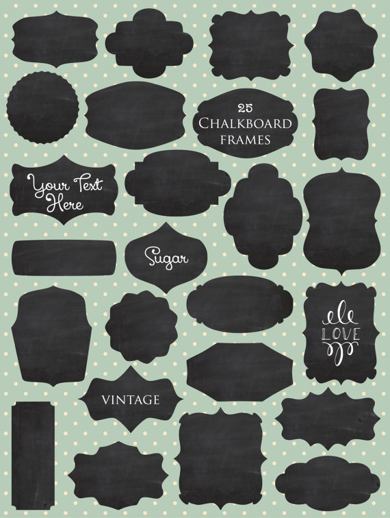 Chalkboard labels clipart banner black and white stock CLIP ART: Vintage Chalkboard Labels // Vector Layered EPS editable ... banner black and white stock