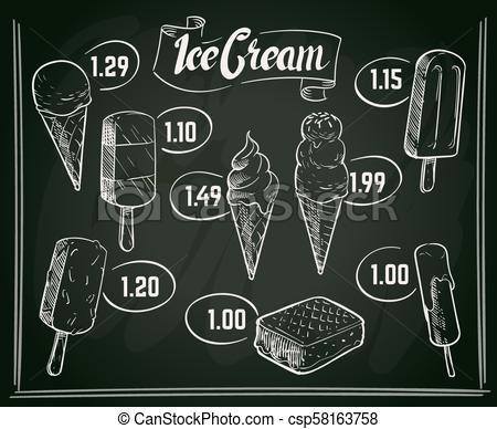 Chalkboard menu clipart clipart library stock Hand drawn ice cream menu vector design on chalkboard clipart library stock