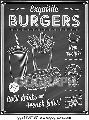 Chalkboard menu clipart clip Vector Art - Chalkboard fast food menu template2. Clipart Drawing ... clip