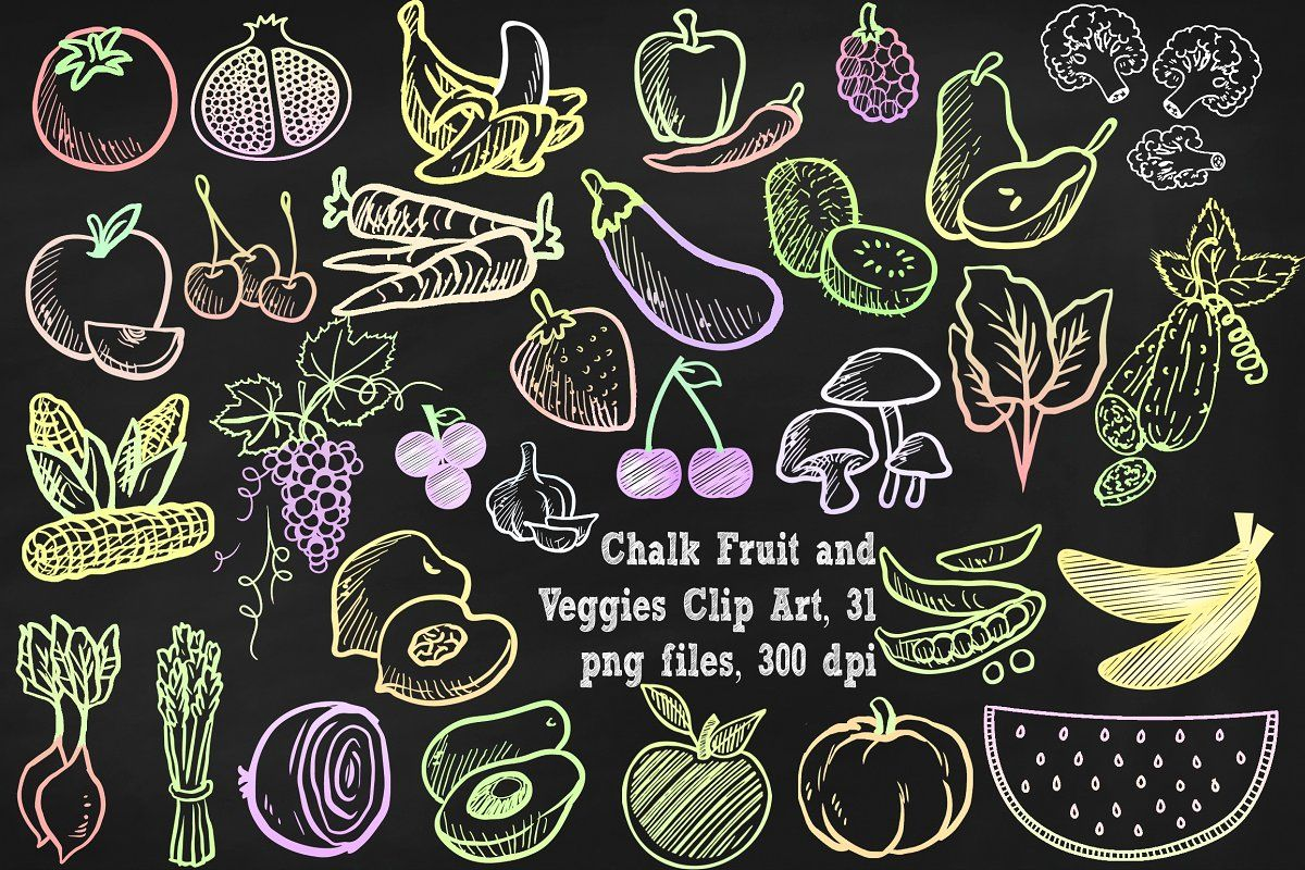 Chalkboard menu clipart picture download Chalk Fruit & Vegetables Clipart | Chalk board | Chalkboard clipart ... picture download