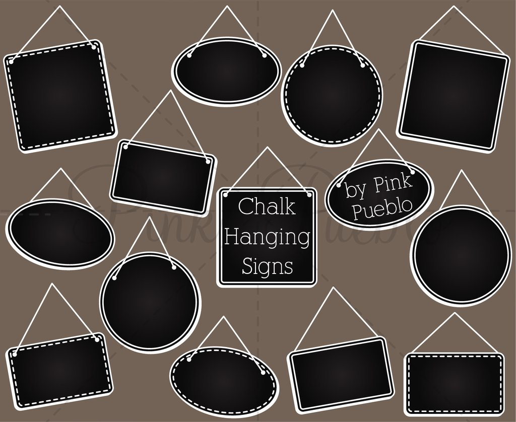 Chalkboard sign clipart graphic royalty free Chalkboard Hanging Frames or Signs Clipart and Vectors graphic royalty free
