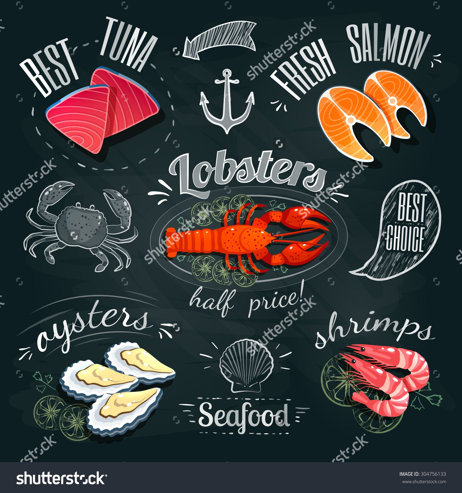 Chalkboard stomach clipart vector library stock Chalkboard Seafood Ads - Tuna, Salmon, Lobster, Oysters And ... vector library stock