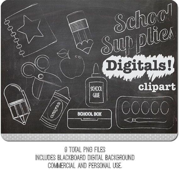 Chalkboard stomach clipart clip art transparent stock Chalk Clip art School Supplies INSTANT DOWNLOAD by DigiBonBons ... clip art transparent stock