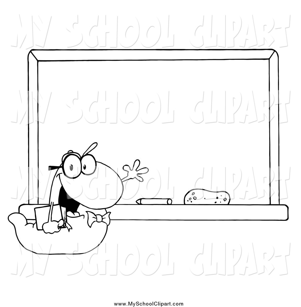 Chalkboard stomach clipart banner freeuse Clip Art of a Black and White Student Bookworm by a Classroom ... banner freeuse
