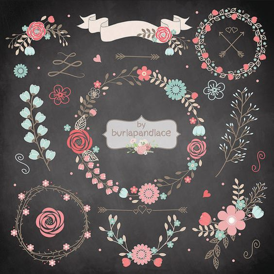 Chalkboard wreath clipart freeuse library Wedding Floral Wreath Clip Art, Hand Illustrated Digital Flowers ... freeuse library