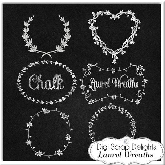 Chalkboard wreath clipart
