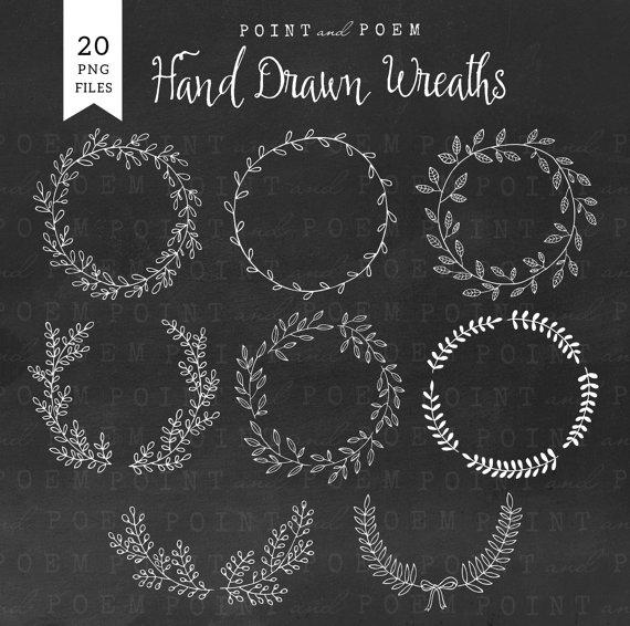Chalkboard wreath clipart vector royalty free library Wreath Clip art: ''Hand drawn wreath'' vector royalty free library