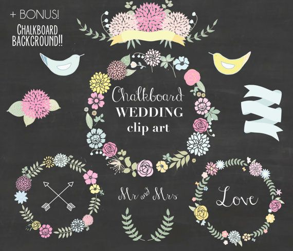 Chalkboard wreath clipart vector free library Chalkboard Wedding Floral clipart, Digital Wreath, Floral Frames ... vector free library