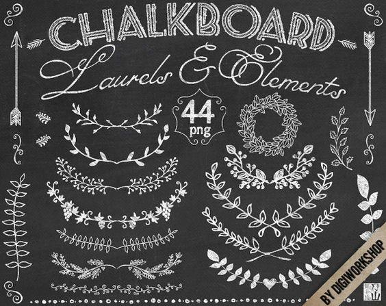 Chalkboard wreath clipart image stock Chalkboard Laurel Clip Art Clipart: