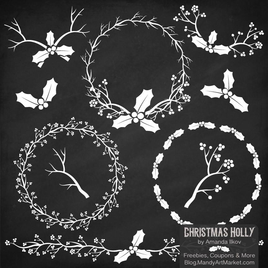 Chalkboard wreath clipart stock Holly Wreaths Clipart in Chalkboard – Mandy Art Market stock