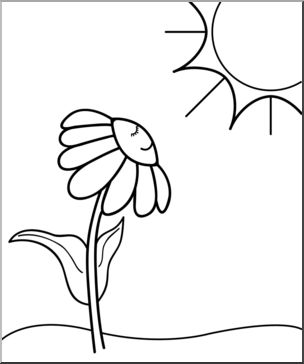Chamomile clipart b&w clipart black and white Clip Art: Daisy Sunny Day B&W I abcteach.com | abcteach clipart black and white
