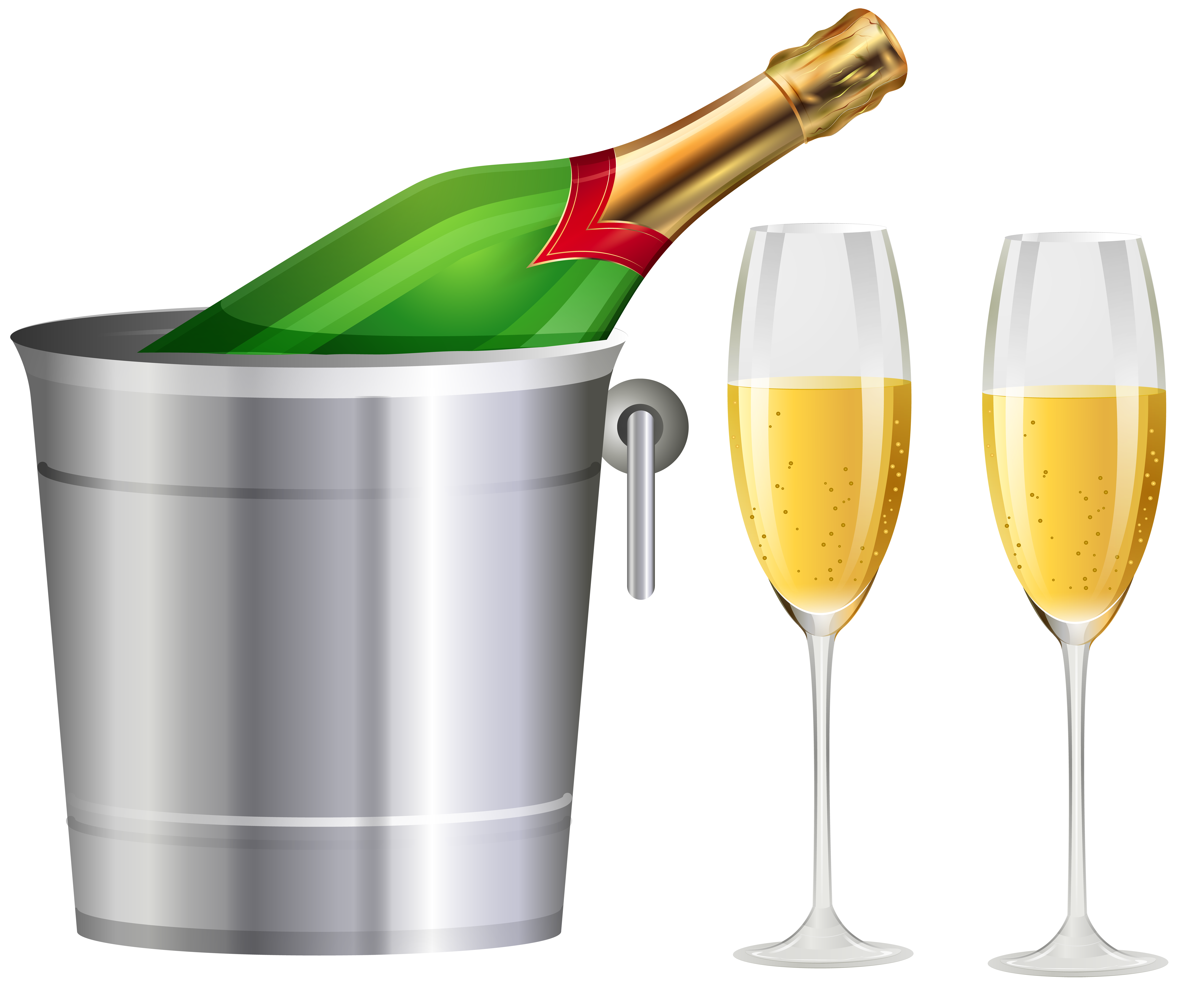 Champagne bottle and glasses clipart freeuse Champagne Bottle and Glasses Transparent Clip Art Image | Gallery ... freeuse