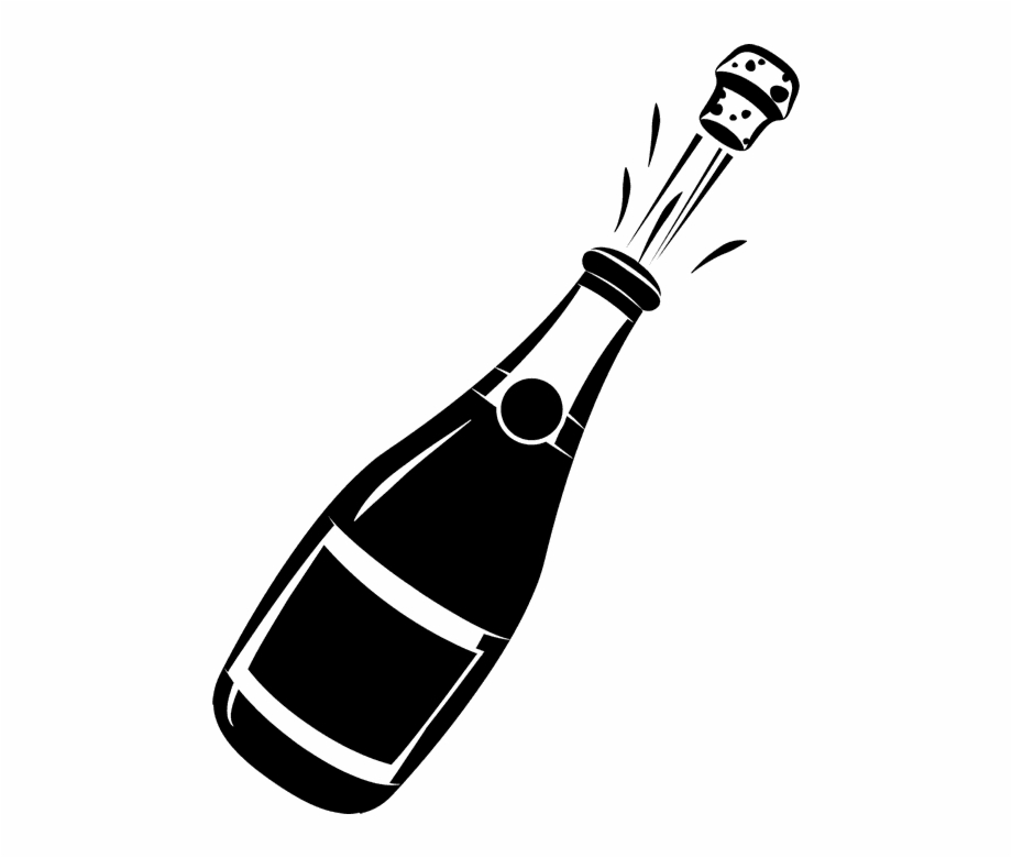 Champagne bottle clipart banner black and white library Champagne Bottle Clipart - Clip Art Champagne Bottle, Transparent ... banner black and white library