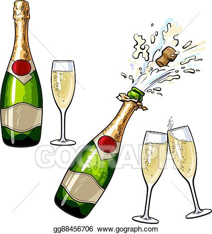 Champagne bottle clipart graphic download Vector Stock - Closed, open champagne bottle and glasses. Clipart ... graphic download