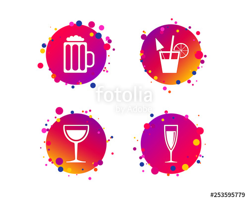 Champagne dot line clipart picture black and white Alcoholic drinks icons. Champagne sparkling wine and beer symbols ... picture black and white