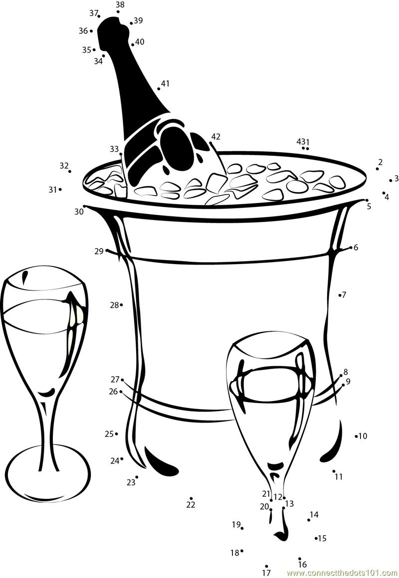 Champagne dot line clipart clip library library champagne on ice dot to dot printable worksheet - Connect The Dots clip library library