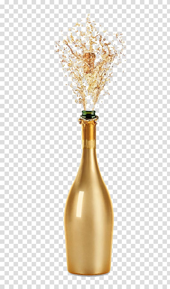 Gold champagne glass clipart graphic transparent library Opened glass bottle illustration, Champagne Wine glass Fizz, Gold ... graphic transparent library