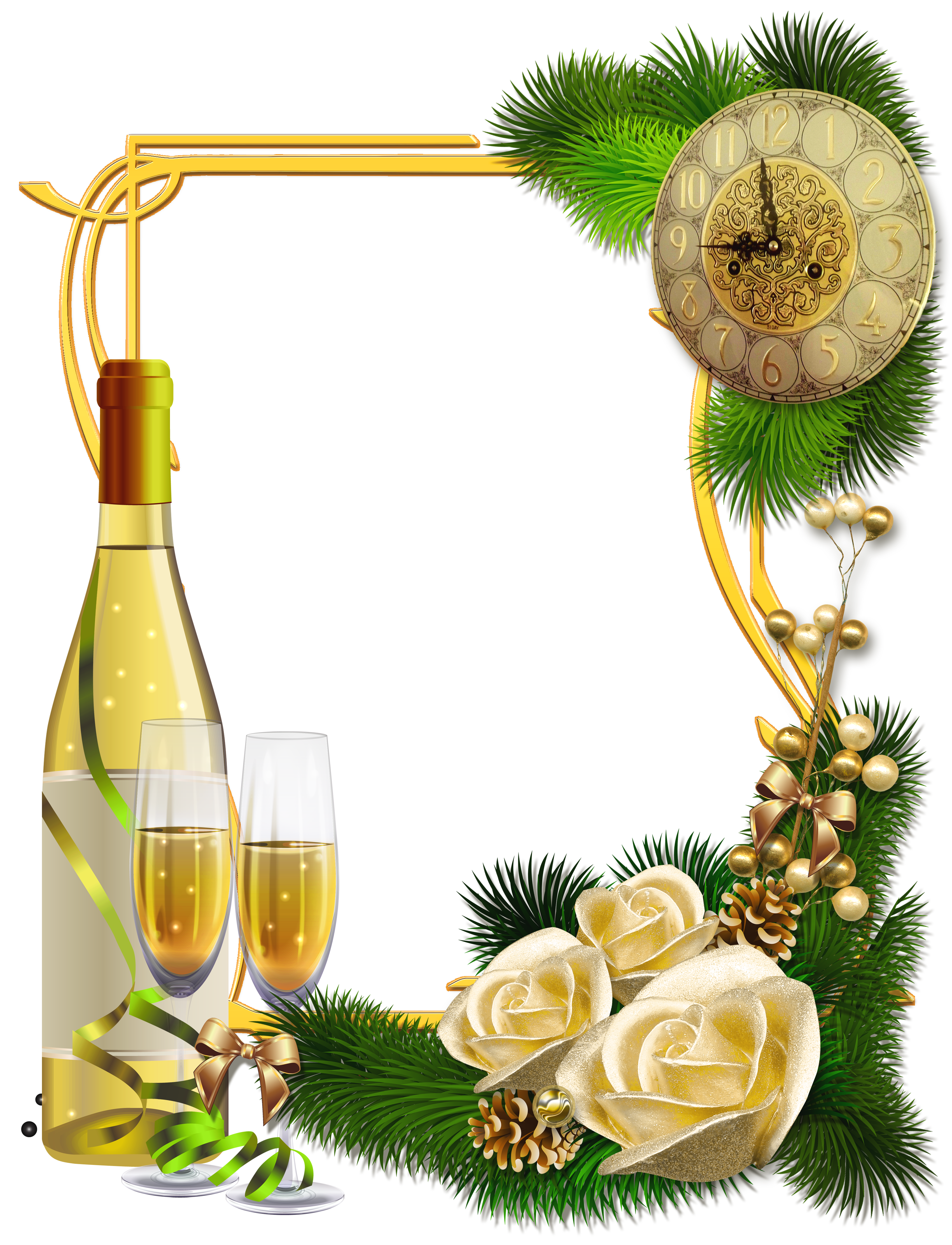 Champagne frame cliparts clipart royalty free New Year PNG Photo Frame with Champagne | Gallery Yopriceville ... clipart royalty free