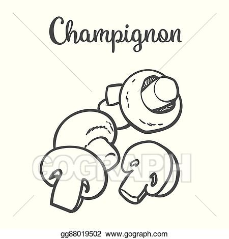 Champignon clipart clip art transparent stock Vector Clipart - Set of champignon edible mushrooms. Vector ... clip art transparent stock