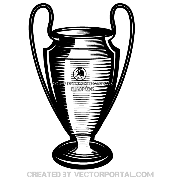 Champions league cup clipart graphic black and white stock Champions League Cup Vector Art | Free Vectors in 2019 | Free vector ... graphic black and white stock