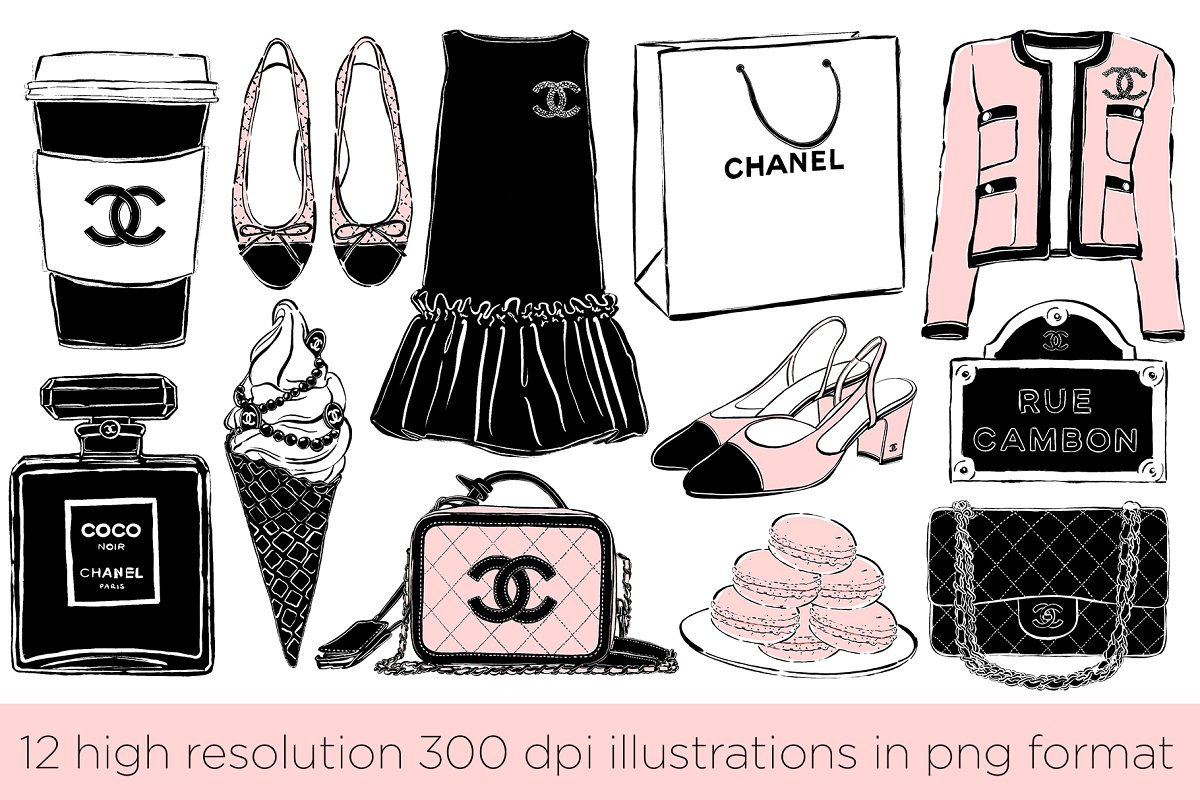 Chanel clipart clipart free download Coco Chic Clipart Set clipart free download