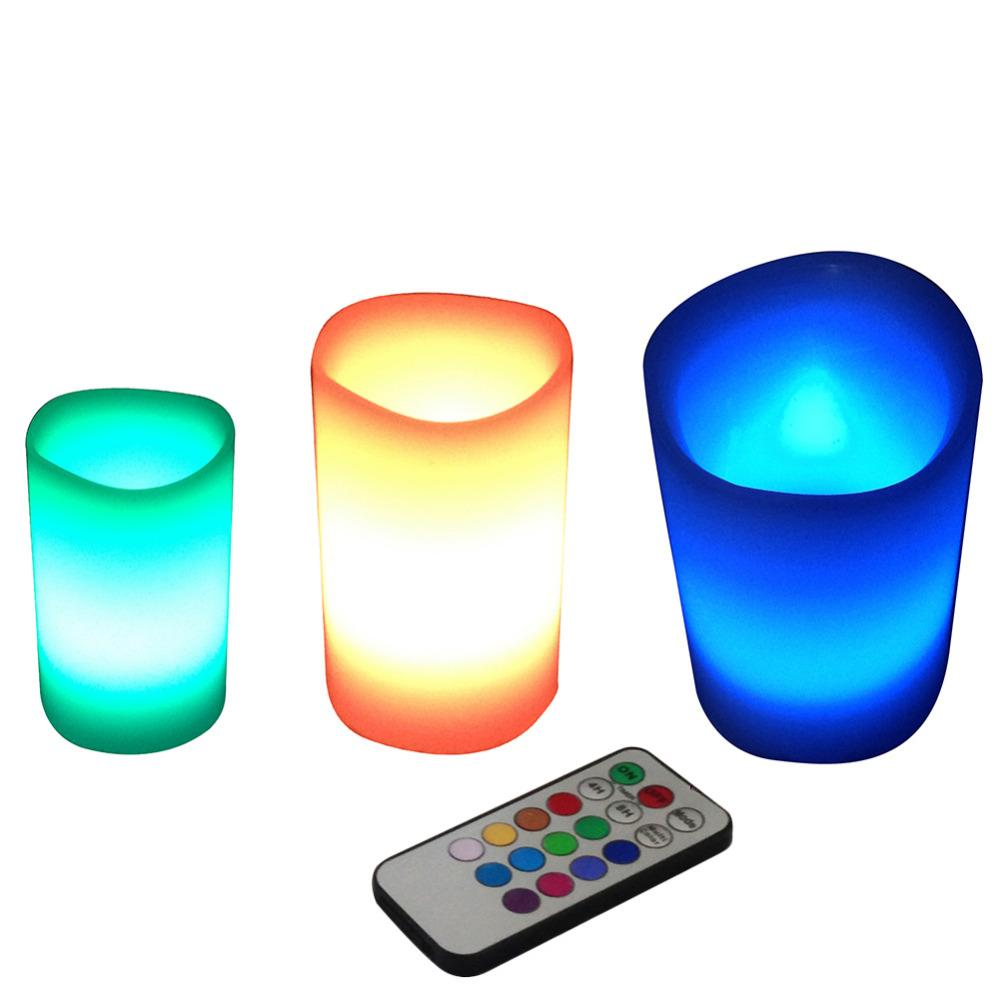 Change color of clipart online picture stock 3pcs /Lot Colorful Changing Colors Rgb Led Flameless Paraffin Wax Candles  18keys Remote Controller Wedding Christmas Decor picture stock