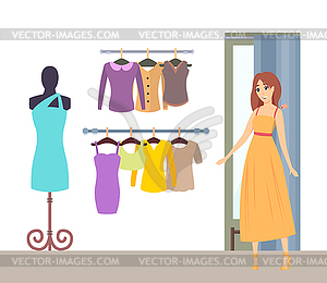 Changing room clipart clipart black and white download Shopping Lady in Changing Room in Dress - vector clipart clipart black and white download