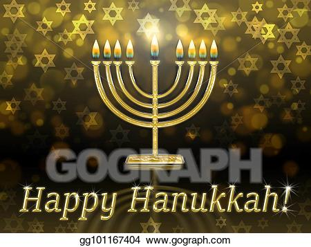 Chanukah 2015 clipart png black and white stock Stock Illustration - Greeting card with inscription - happy hanukkah ... png black and white stock
