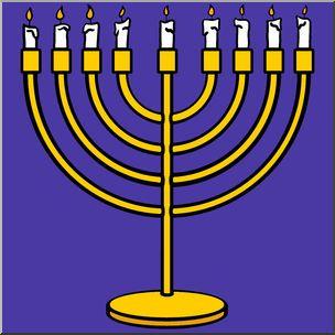 Chanukah 2015 clipart banner transparent Clip Art: Hanukkah: Menorah Color - Menorah clip art in color. This ... banner transparent
