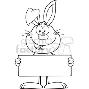 Character clipart in black and white svg free download Royalty Free RF Clipart Illustration Black And White Funny Rabbit Cartoon  Character Holding A Banner clipart. Royalty-free clipart # 390103 svg free download